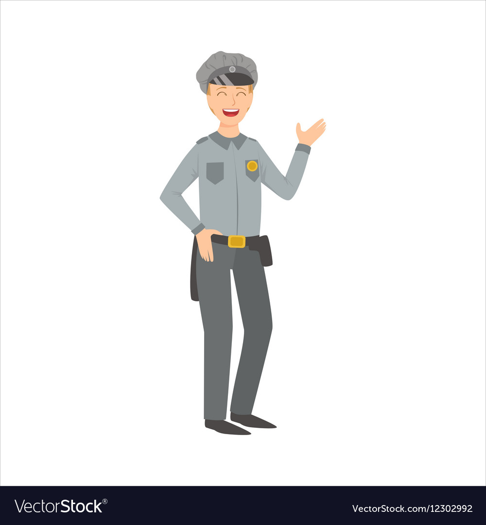 Man Police Officer Part Of Happy People And Their