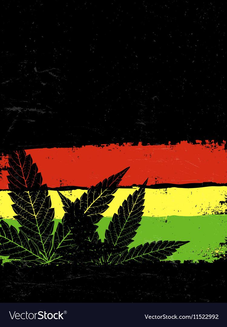 Marijuana silhouette Rastafarian flag grunge vector image