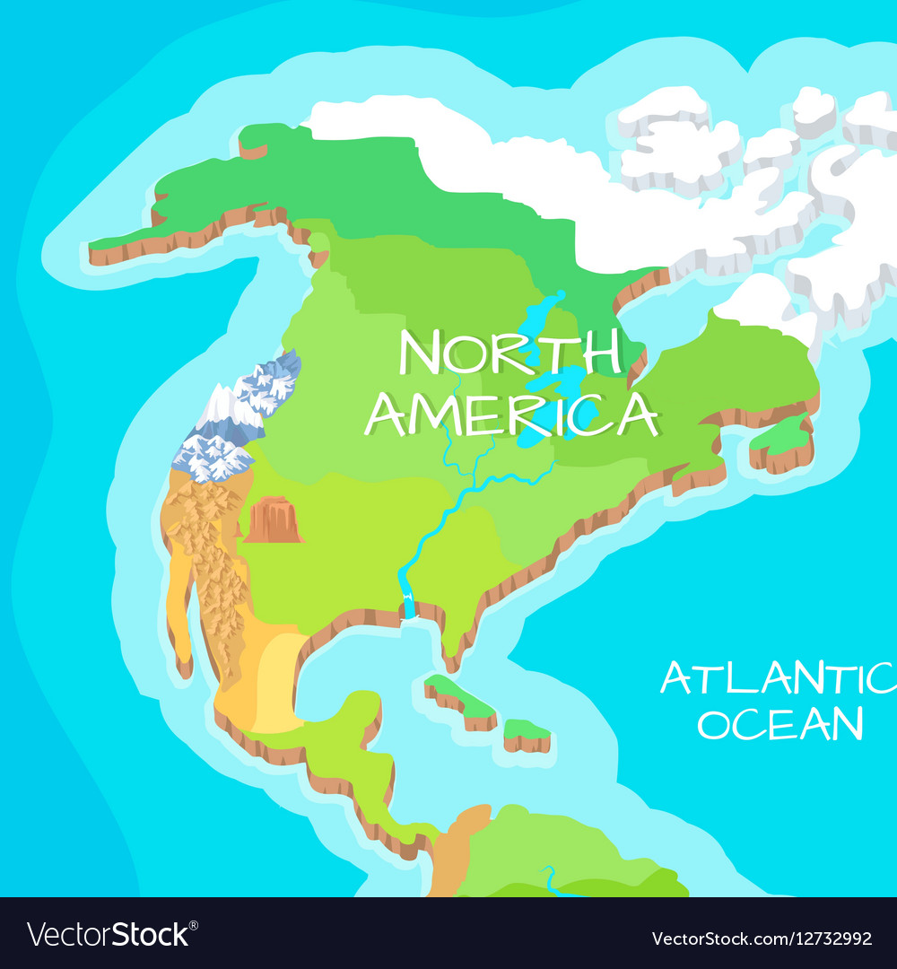 North America Mainland Cartoon Relief Map Vector Image