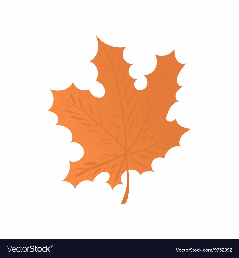 Orange maple leaf icon cartoon style