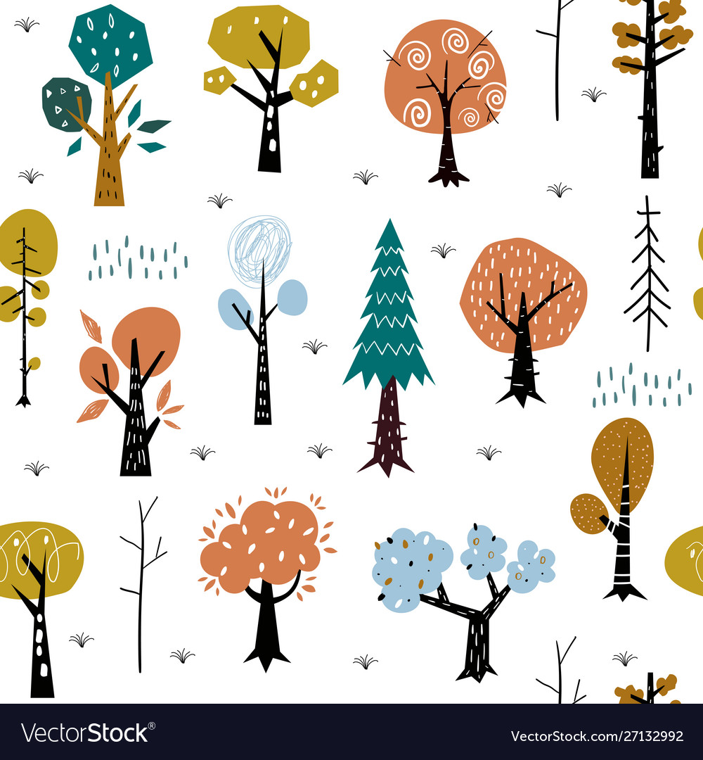 Seamless pattern with colorful autumn forest trees