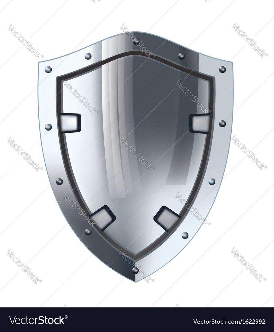 Silver shield vector image