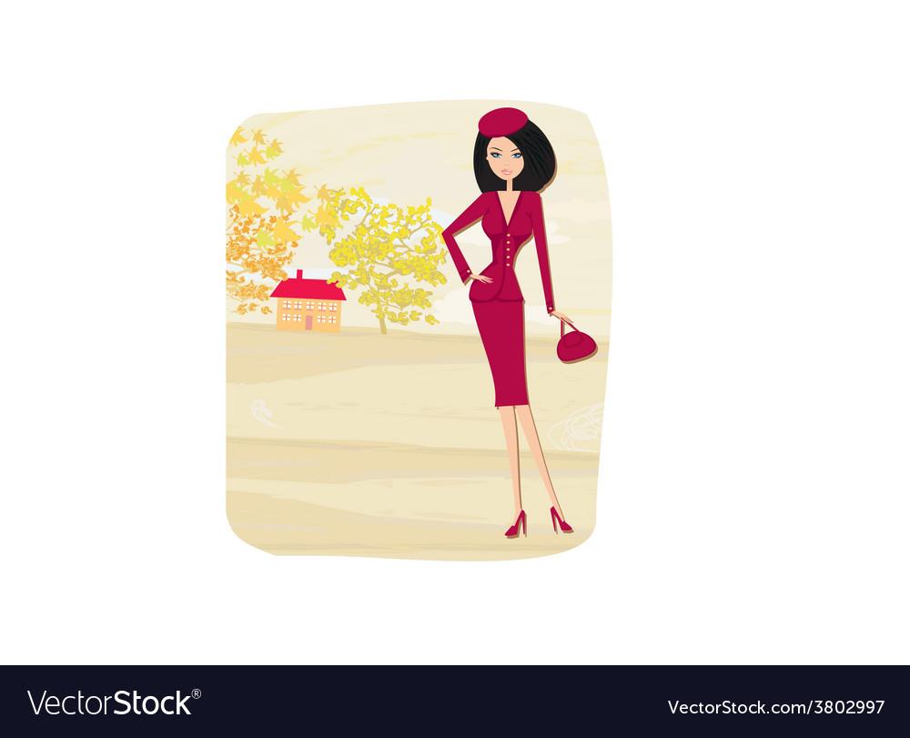 Beautiful fashion autumn girl on rural landscape
