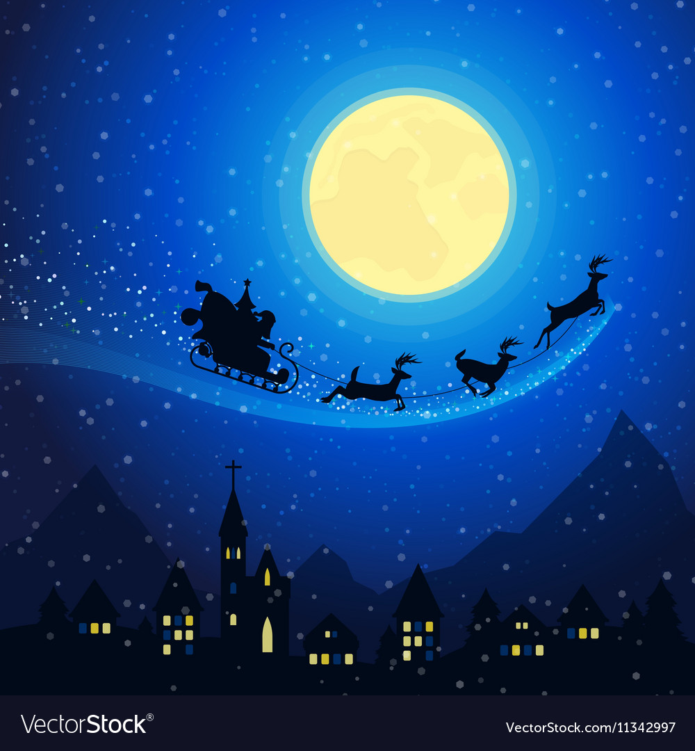 Christmas Town Mountain Landscape with Santa vector image