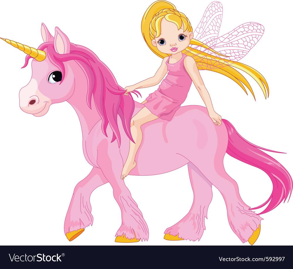 Cute little fairy riding on a unicorn