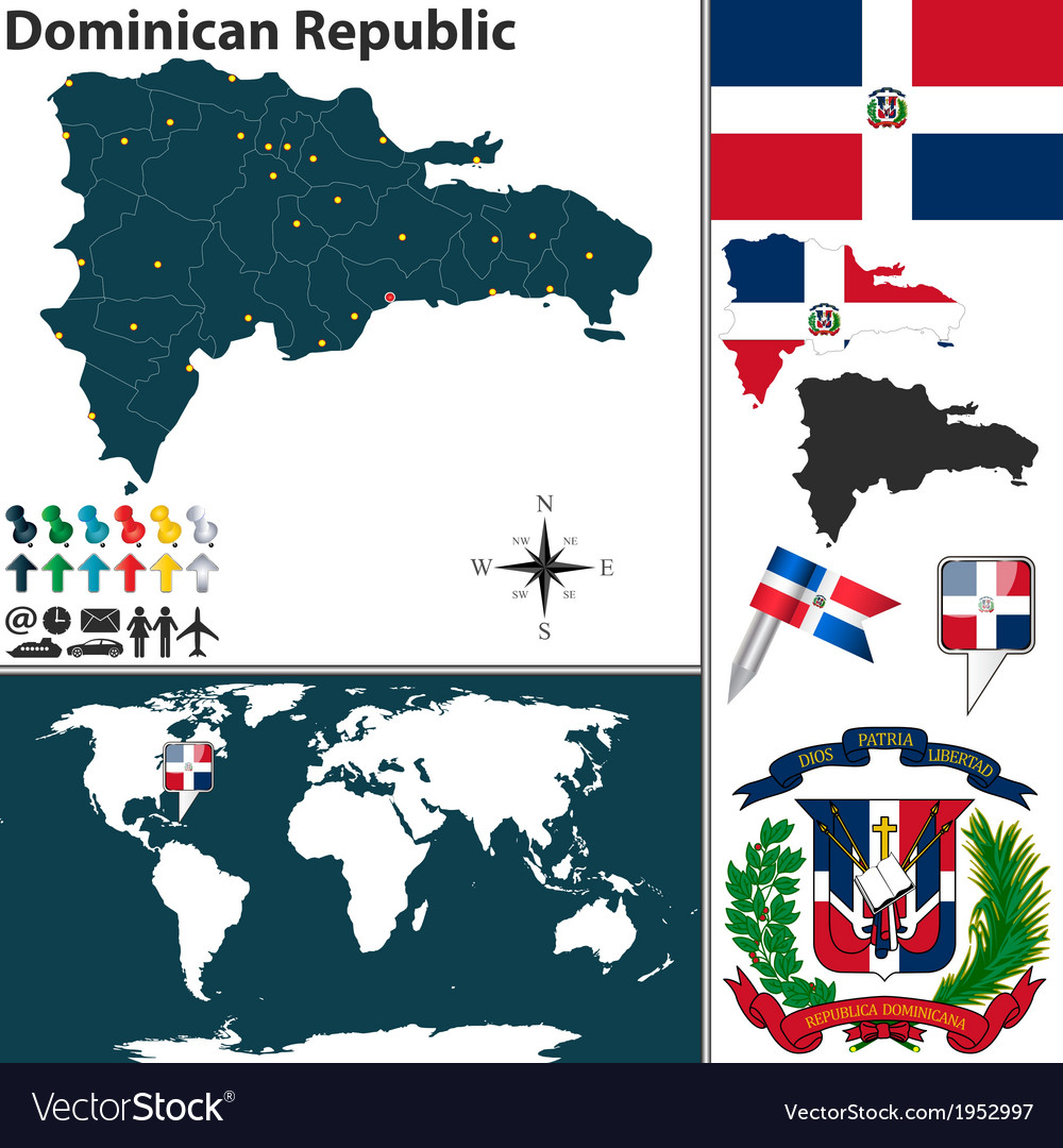 Dominican Republic map world Royalty Free Vector Image on