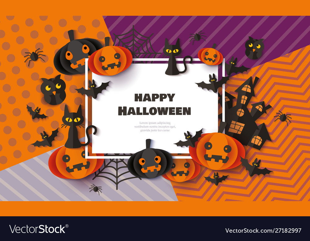 Happy halloween banner with black cats bats and