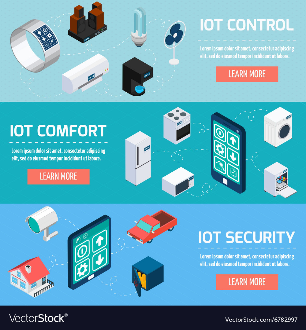 Iot household isometric banners set vector image