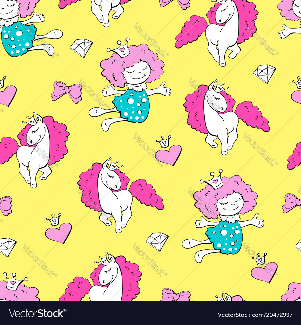 Lovely princesses and unicorns with hearts with