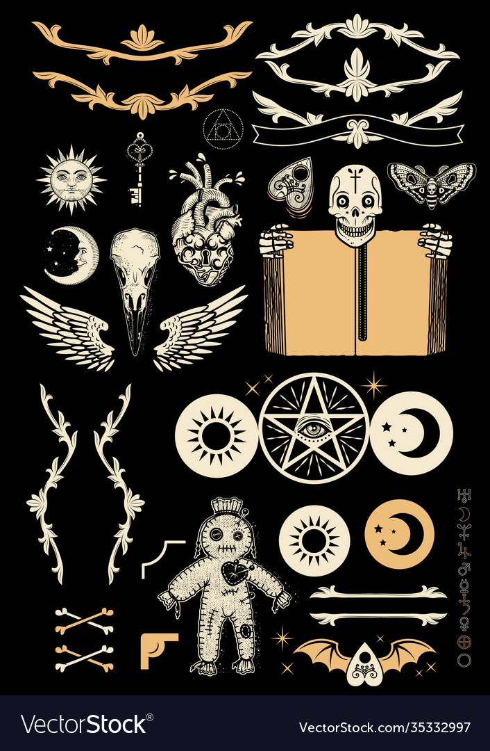 Occultism set with pentagram voodoo doll human