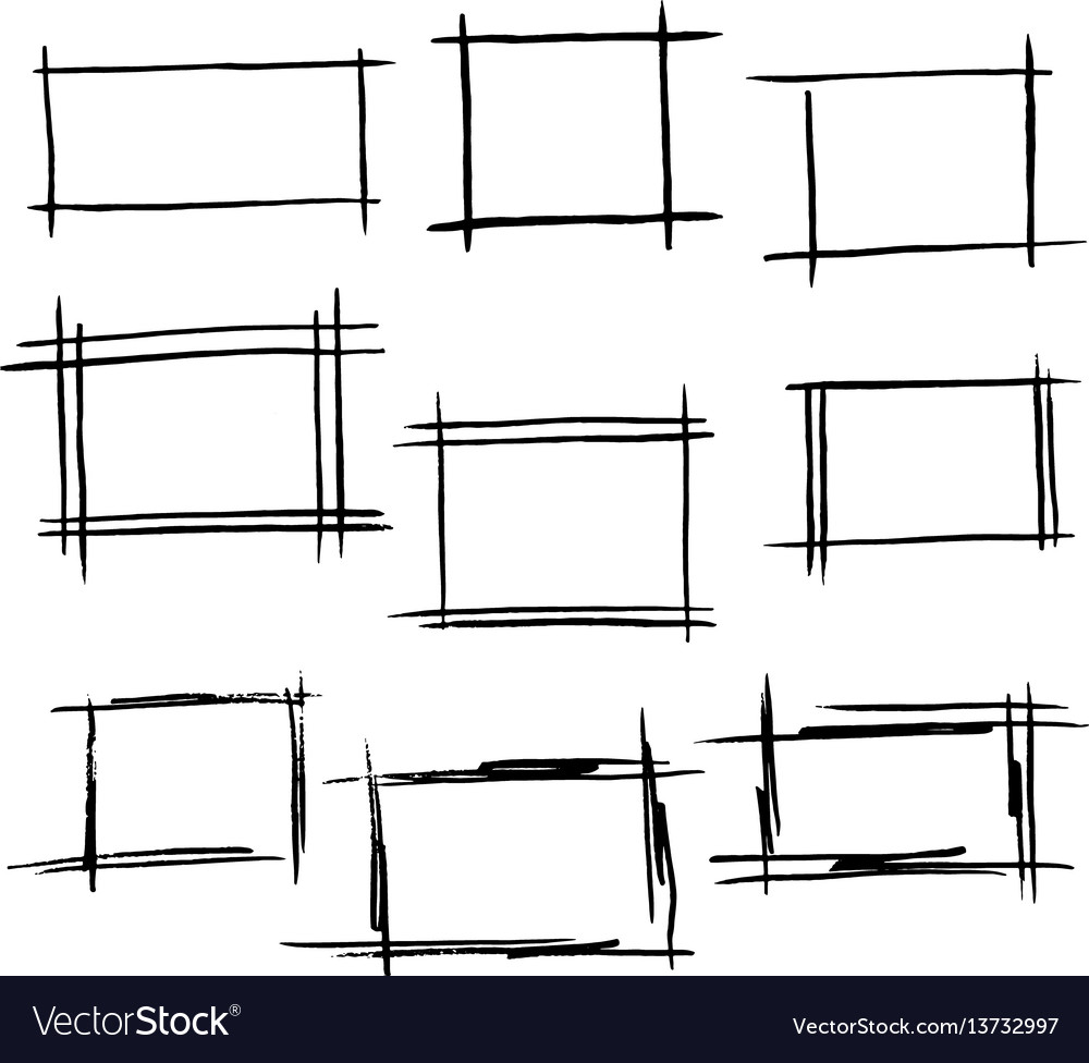 Rectangle frames set of hand drawn bor