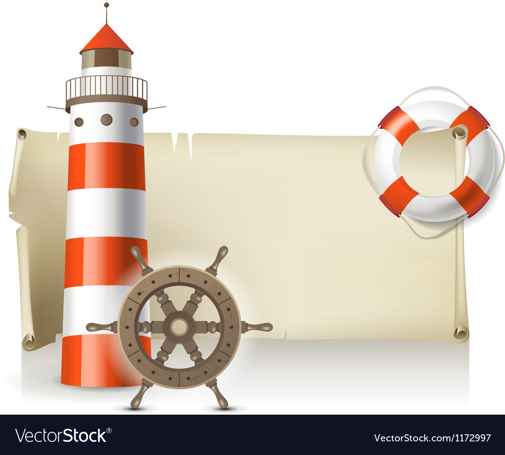 Retro banner with sea elements vector image