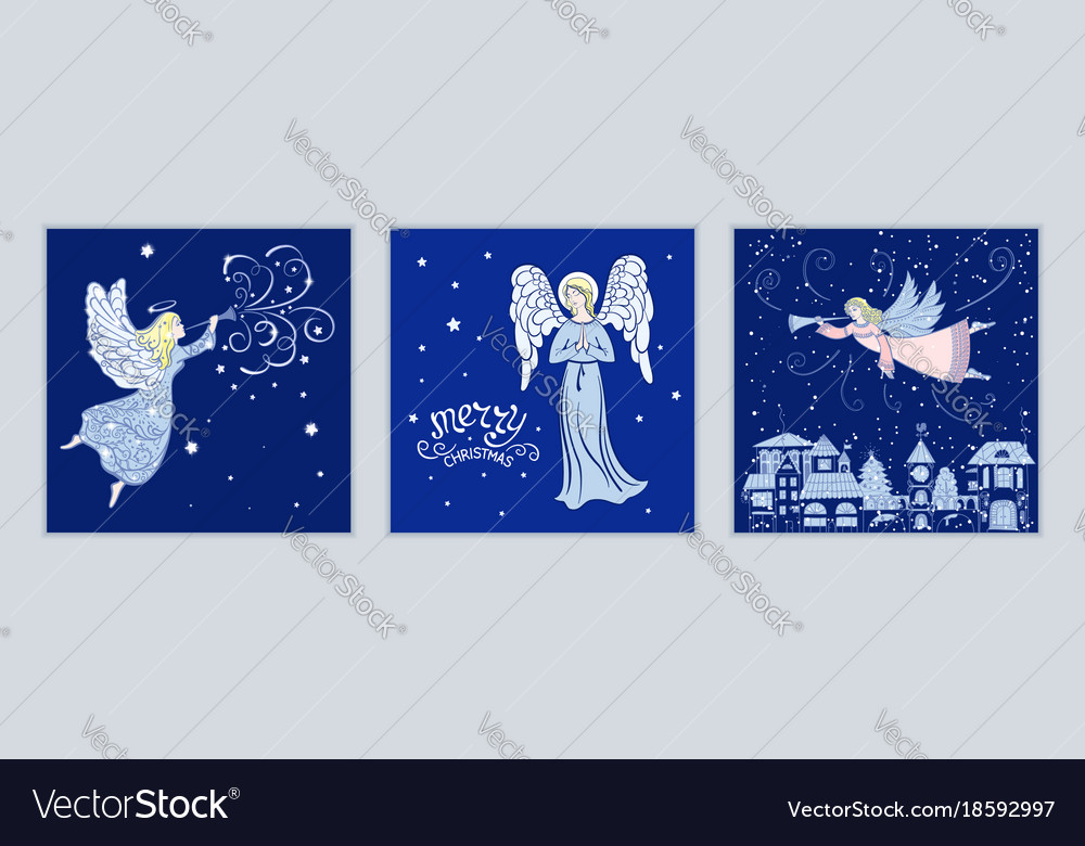 Angels Christmas Cards.Set Of Christmas Cards With Angels