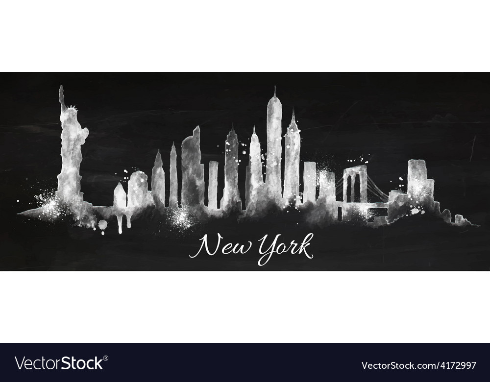 Silhouette chalk New york
