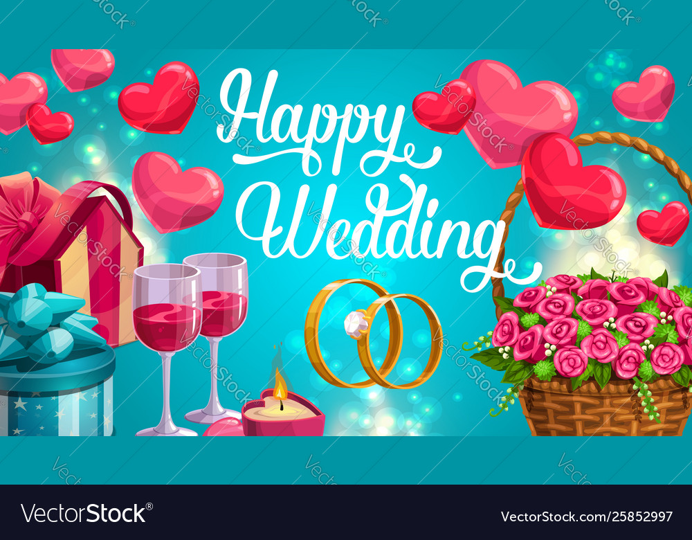 Wedding day greeting card hearts symbols love