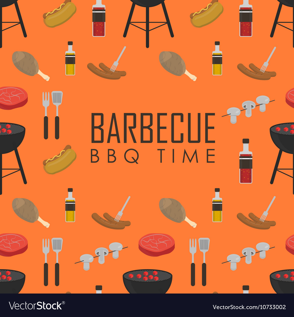 BBQ time seamless pattern Barbecue grill concept