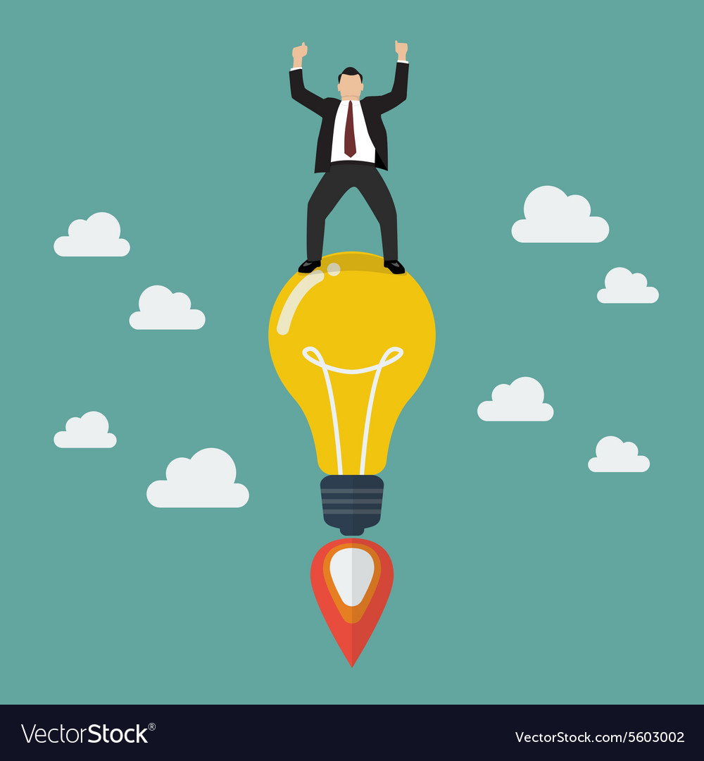 Businessman on a lightbulb idea rocket