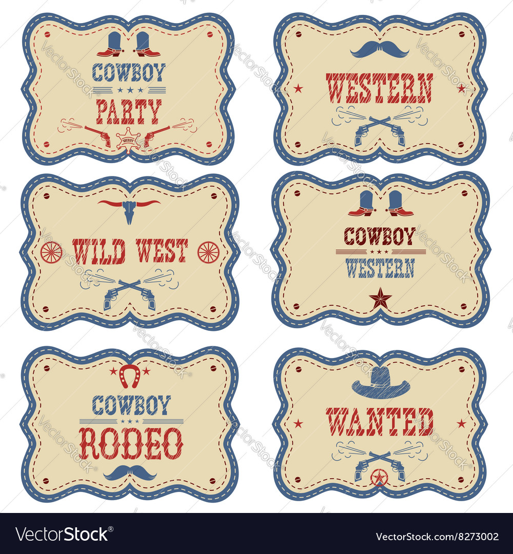 Cowboy labels isolated on white western cowboy