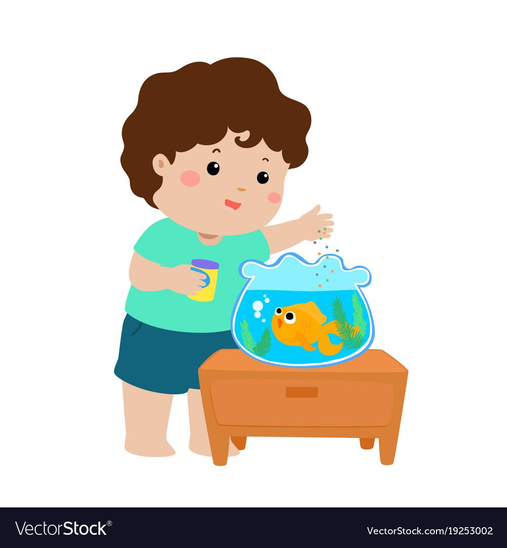 Cute Little Boy Feeding Fish In Aquarium Vector Image