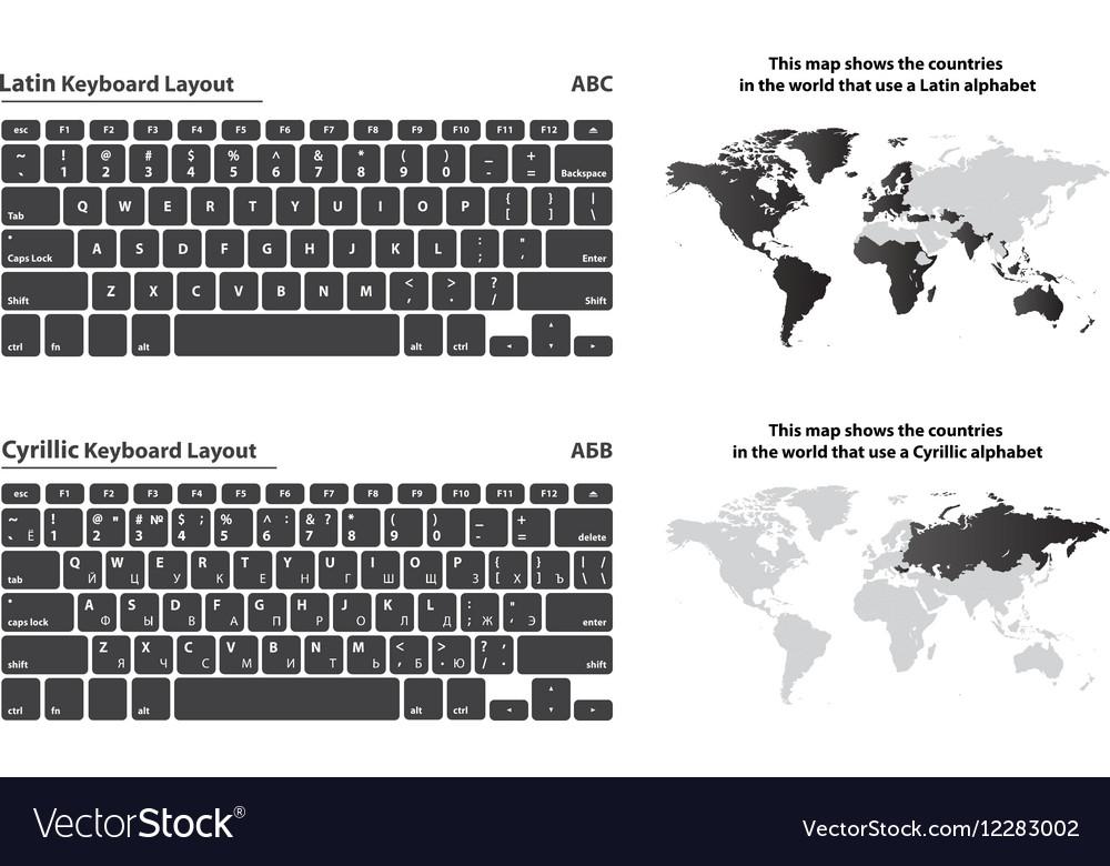 8127a913b4a Cyrillic and Latin alphabet keyboard layout set Vector Image