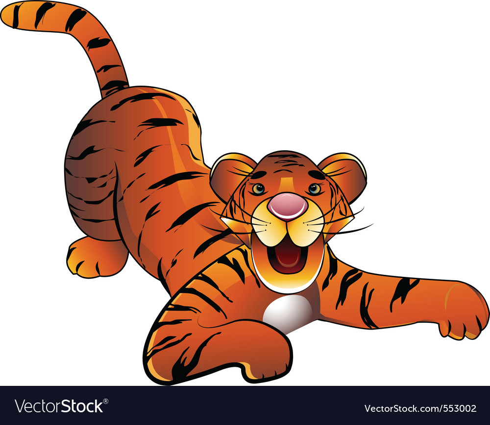 Decorative baby tiger on a white background