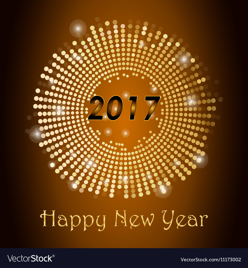Gold glitter Happy New Year 2017 background vector image