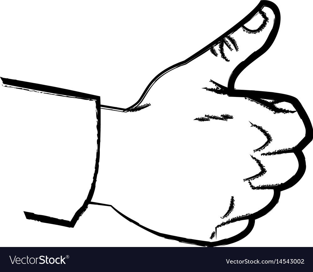 Hand like up thumb expression comic sketch vector image