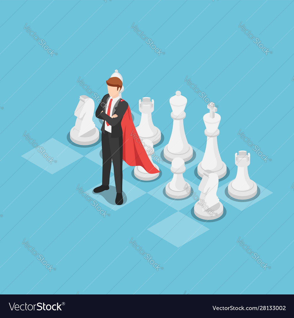 Isometric super businessman as a leader on chess