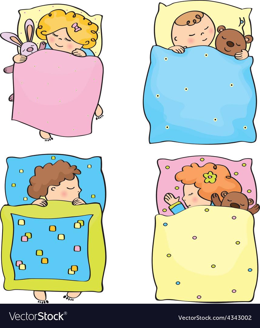 Kids sleeping Royalty Free Vector Image - VectorStock