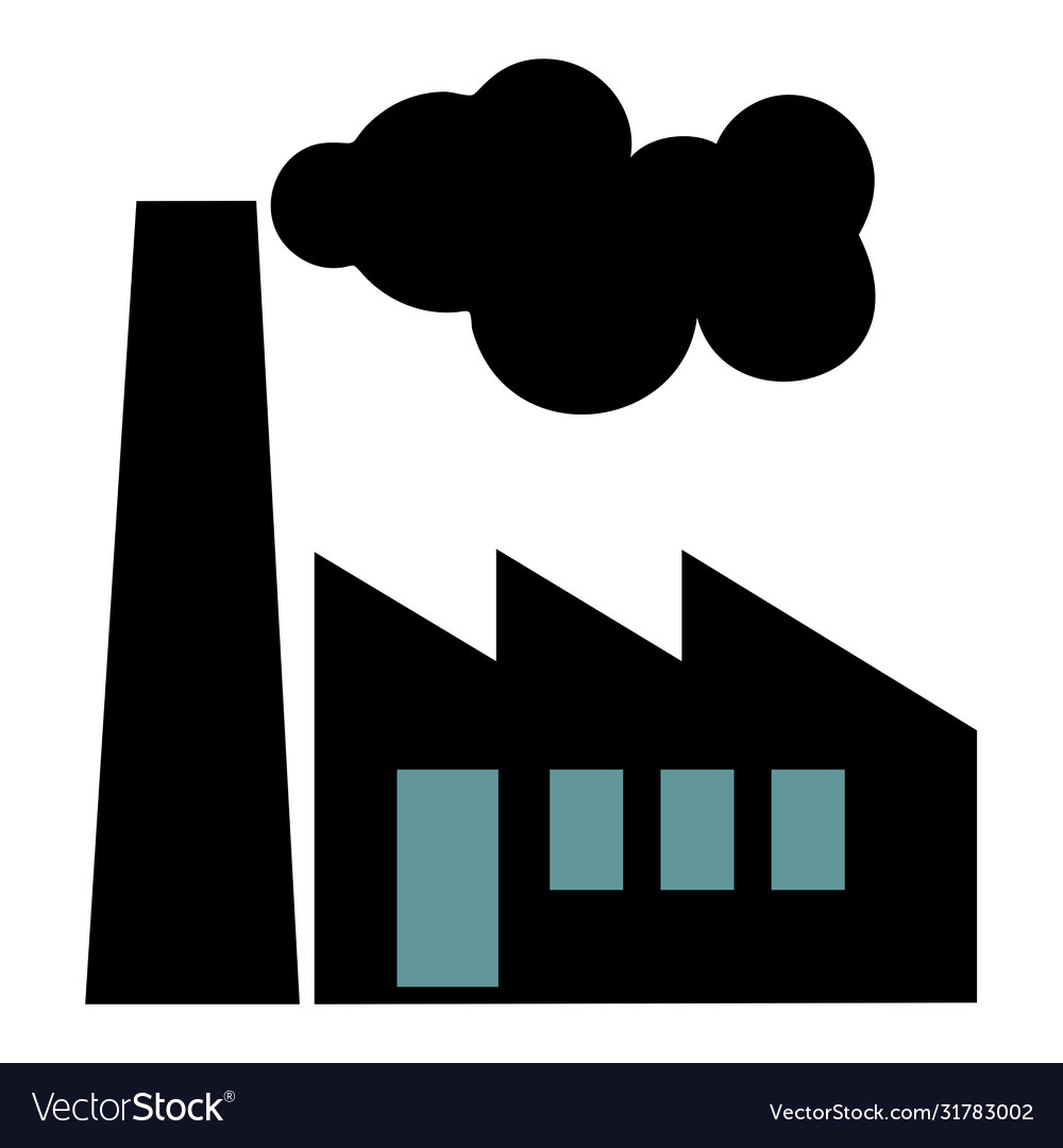 Old factory silhouette on white background