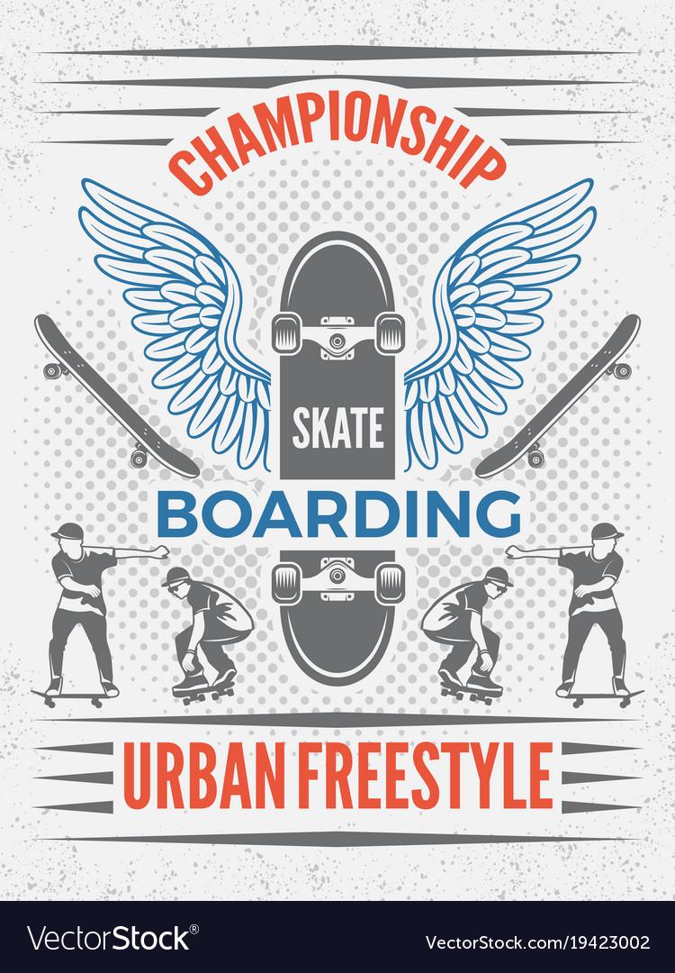 Poster in retro style for skateboarding