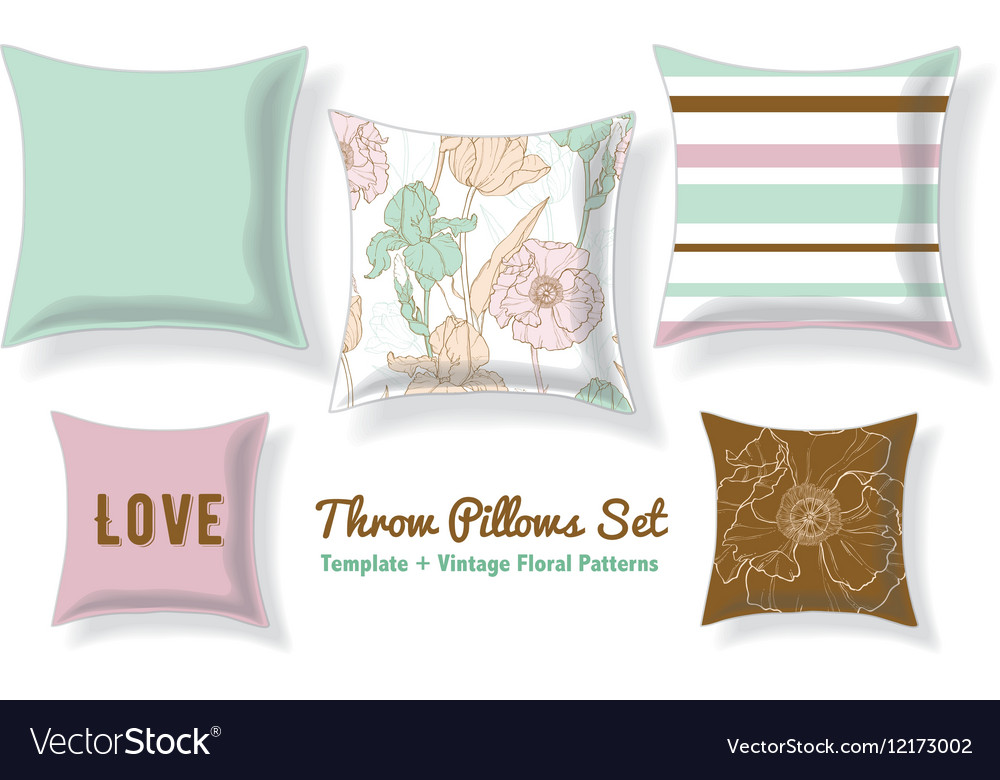 Set Of Floral Throw Pillows In Matching Unique Vector Image