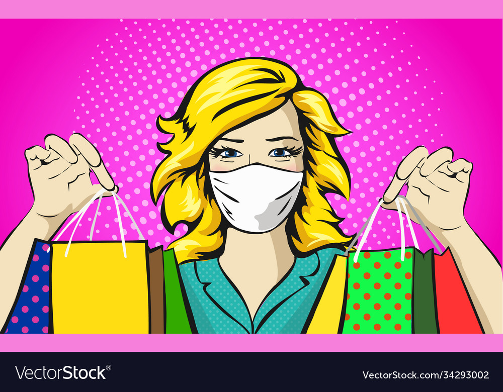 Woman with medical mask shopping concept pop art