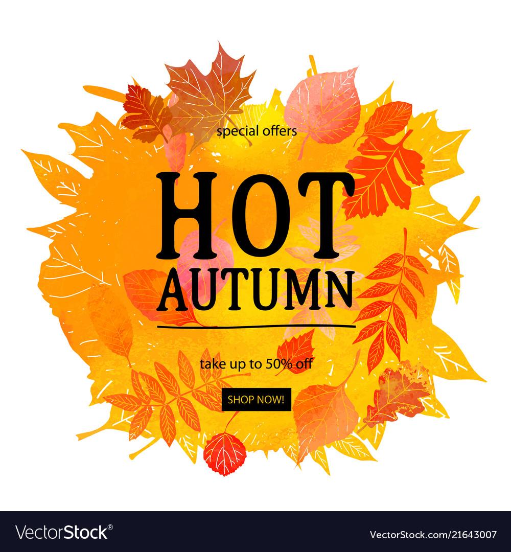 Autumn leaves watercolor texture