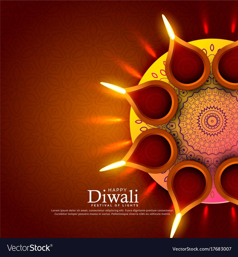Beautiful diwali festival diya greeting