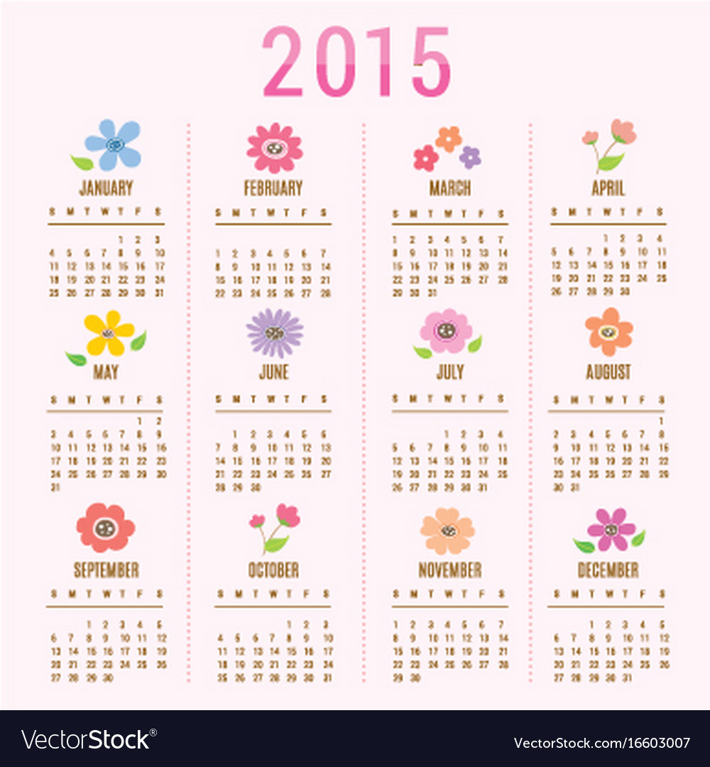 Calendar 2015 flower cute cartoon