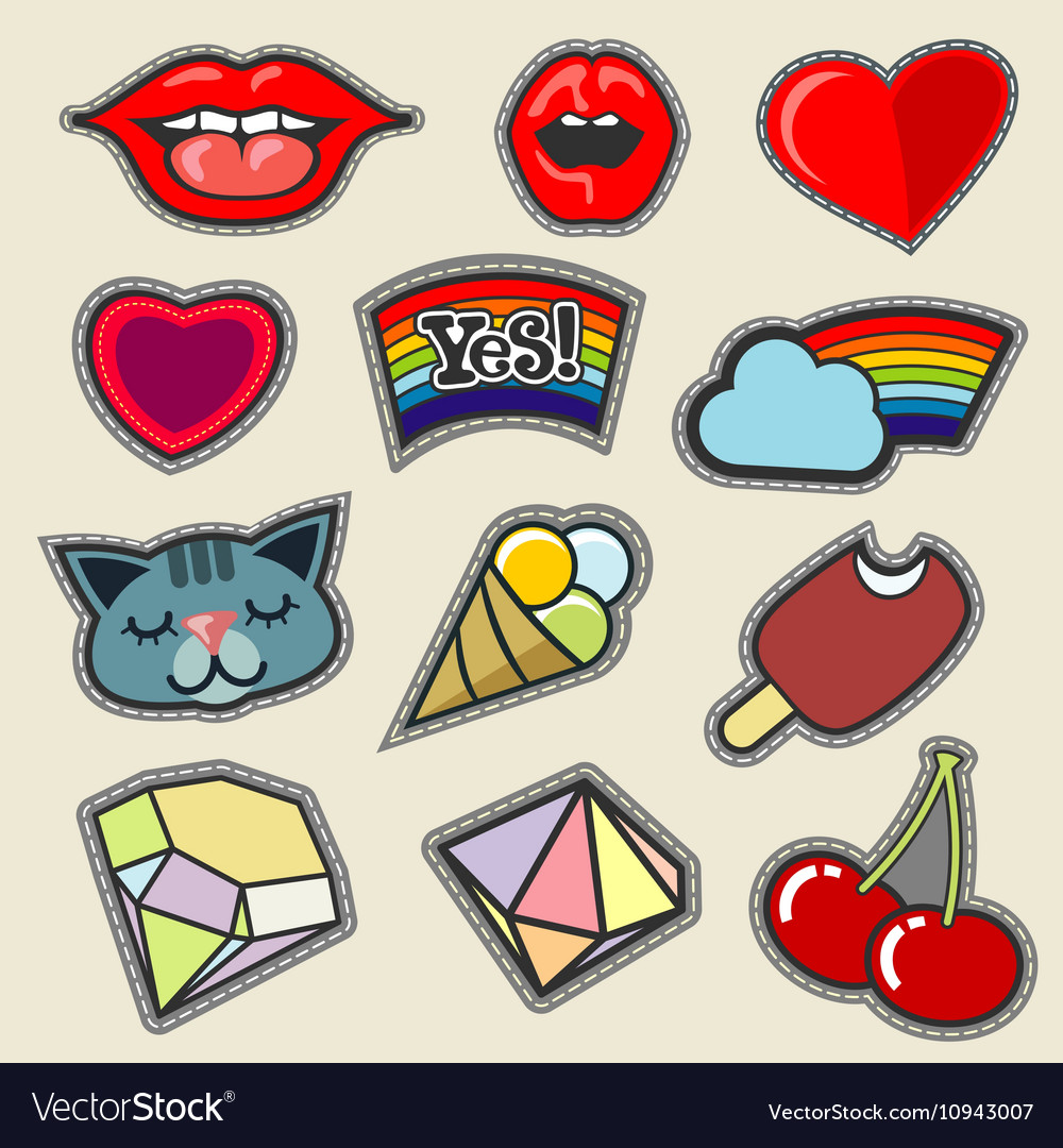 Colorful embroidery patches set