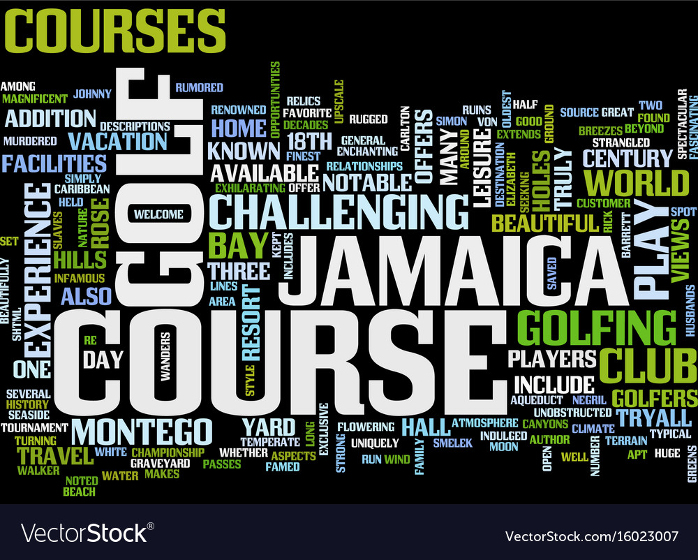 Enjoy great golf in jamaica text background word vector image