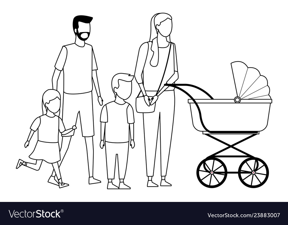 Family And Kids Cartoon Black And White Royalty Free Vector