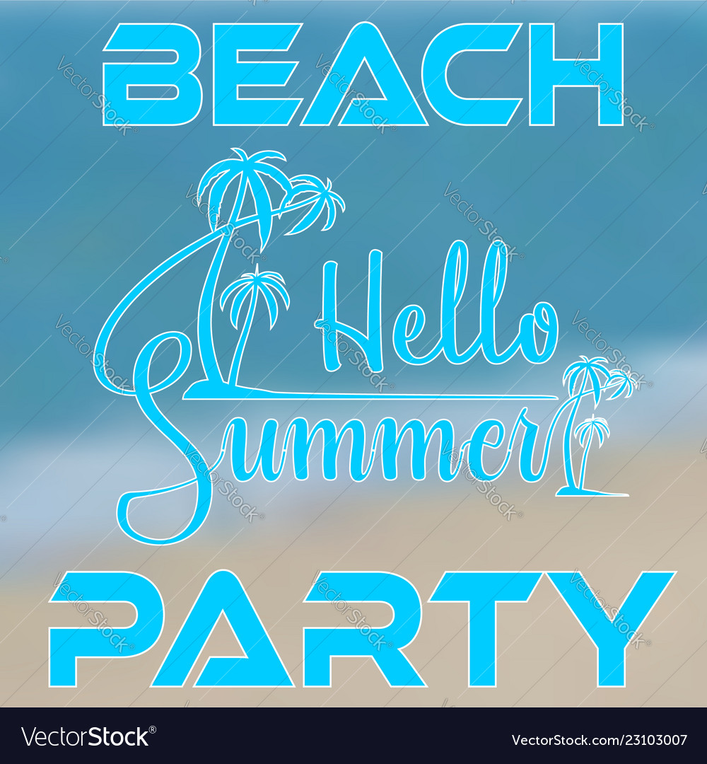 Hand lettering hello summer with palm trees on