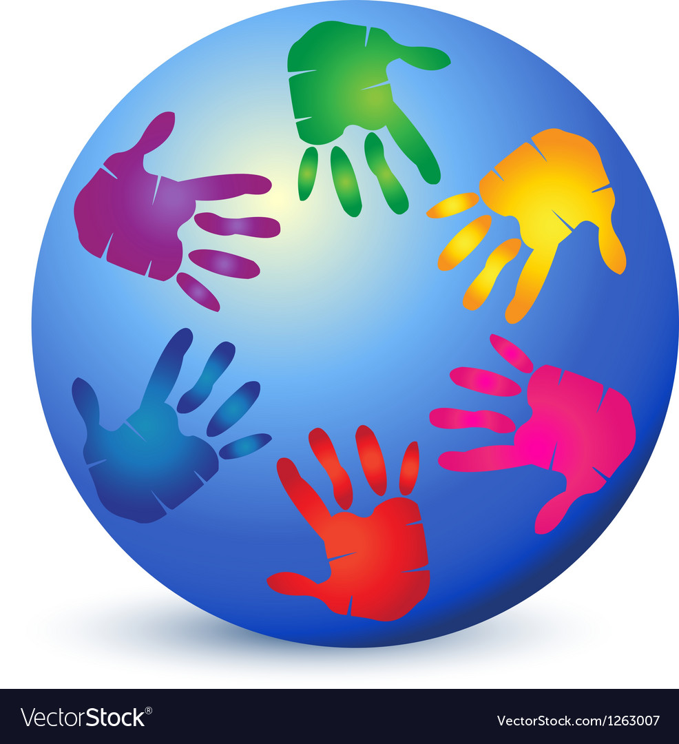 Hands painted on world logo