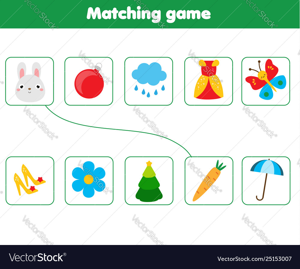Matching children educational game match objects Vector Image