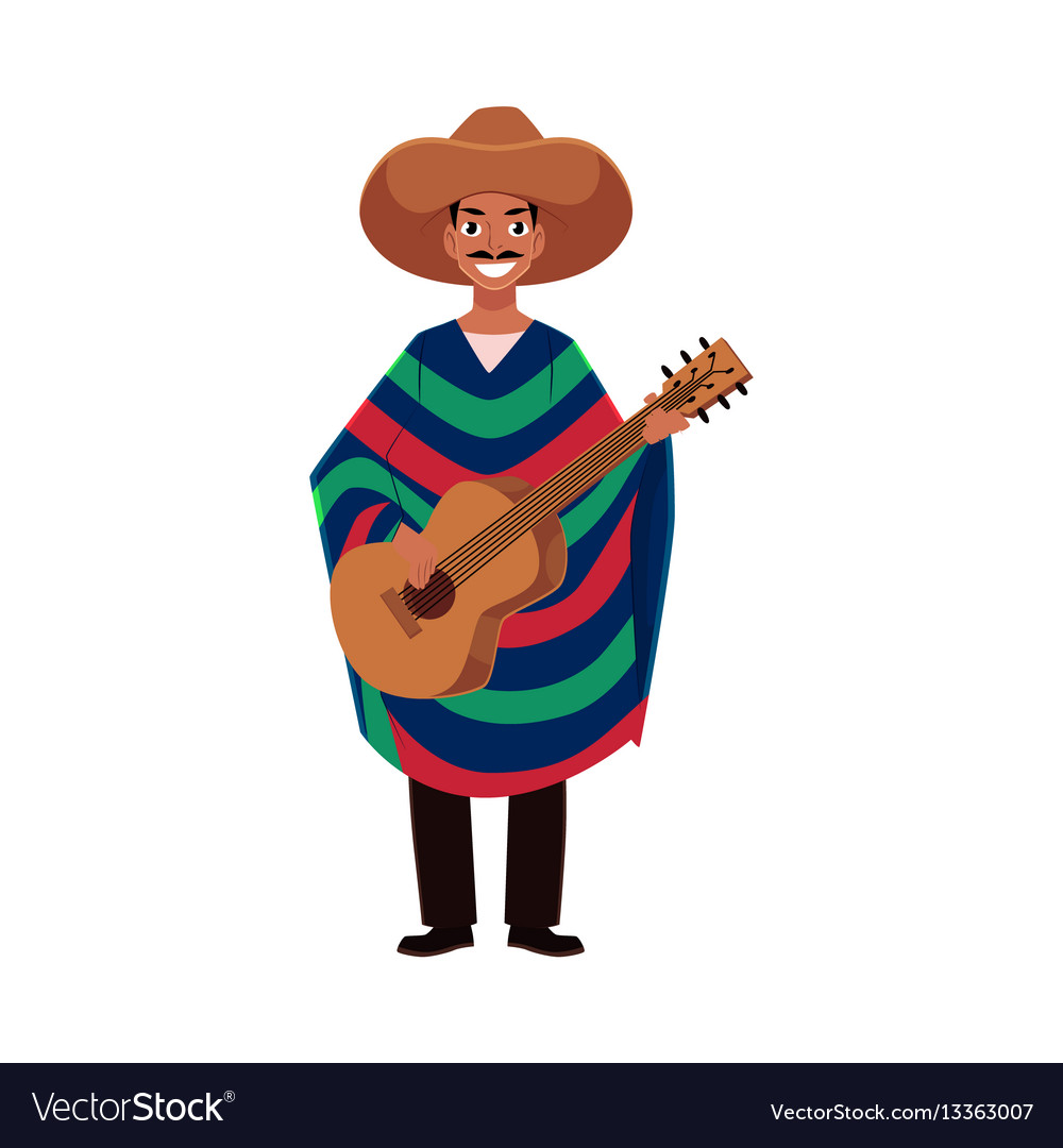 Mexican man in traditional national sombrero and