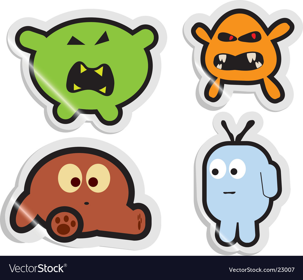 Monster stickers vector image