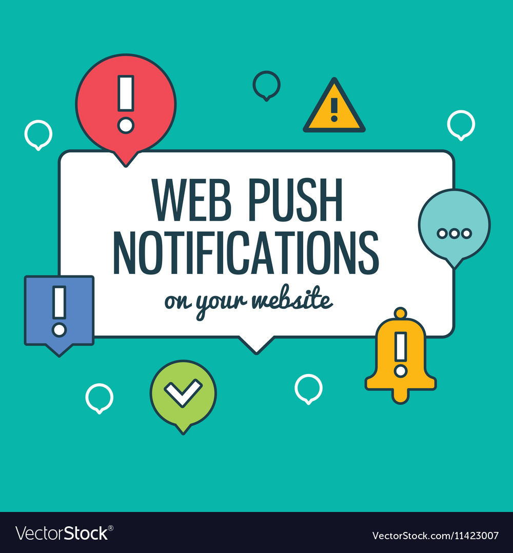 Push notifications elements linear icons set with