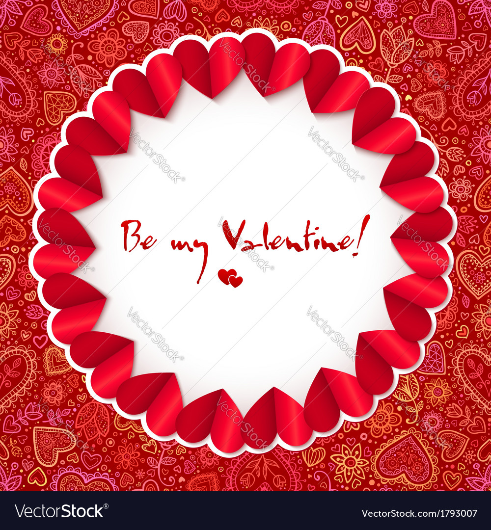 Red circle Valentines day greeting card template