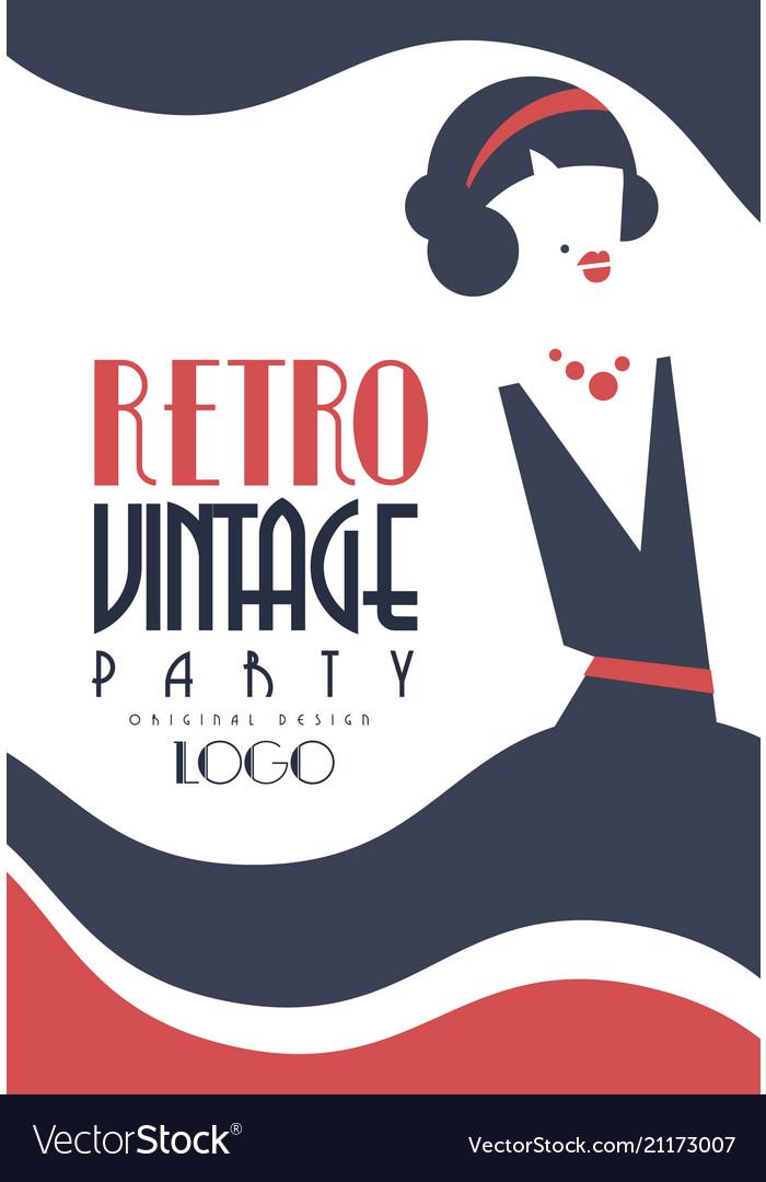 Retro vintage party logo design element for