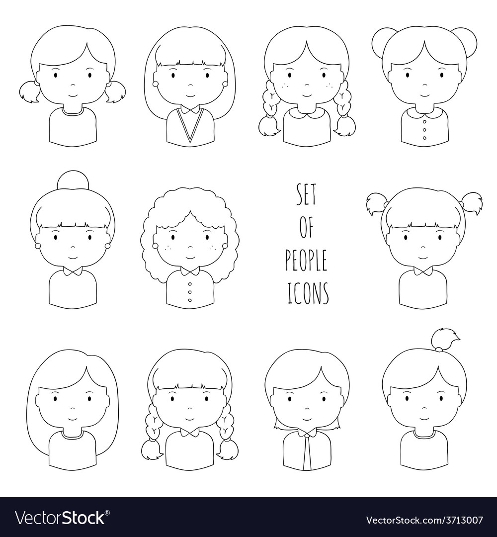 Set of line female faces icons Funny cartoon hand