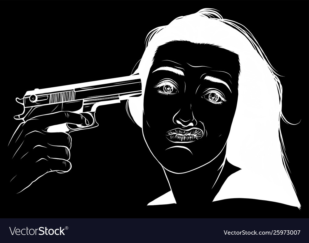 Suicide girl handgun icon