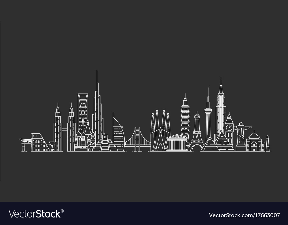 World skyline in outline style